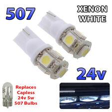 2 x White 24v Capless Side Light 507 501 W5W 5 SMD T10 Wedge Bulbs HGV Truck