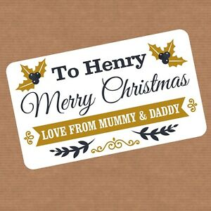 Fully Personalised Christmas Present Stickers Gift Labels Santa - 8 DESIGNS!
