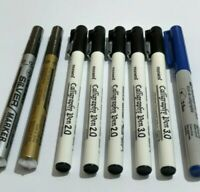 8 X CALIGRAPHY PENS 2-3MM CHISLED NIB BLUE & BLACK, GOLD AND SILVER PENS