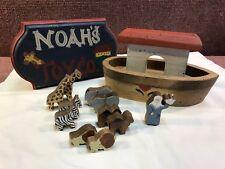 Noah's Ark Set Handcrafted  Wooden Noah's Ark with  Animals