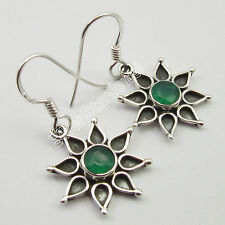 Jewelry Earrings Exotic !! ROUND GREEN ONYX Gemset, 925 Solid Silver ART Jewelry