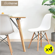Dining Table And 4 Chairs Set White Rectangle Wood Legs EiffelStyle Retro Design