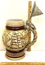 Vintage 1977 Avon Ceramic Lidded Beer Stein Tankard Nautical Handcrafted #486592