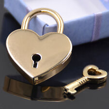 Mini Padlock Heart Shape Luggage Case Padlock With Key Gold Alloy Antique 1pc