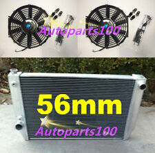 For Ford Falcon Radiator&Fans V8 6cyl XC XD XE XF AT/MT 1979-1986 56mm Aluminum