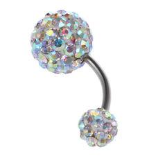 1pieza Anillo barra Ombligo Vientre Barra con pesas Diamantes imitacion CrisJ2O7