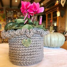 Storage Display Basket Plant Pot with Brass Heart Handmade Lavender Pot Handmade