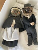 ANTIQUE AMERICANA FOLK ART HANDMADE DRIED APPLE HEAD DOLLS