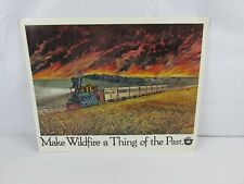 Vintage SMOKEY THE BEAR Wildfire Prevention Train Locomotive Poster Sign RARE