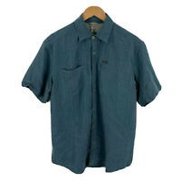 Columbia Mens Button Up Shirt Size Medium Dusty Blue Short Sleeve Collared