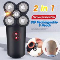 5 Head Men USB Electric Shaver Beard Hair Trimmer Clipper Bald Razor Waterproof