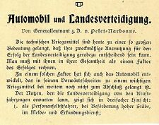 Generalleutnant v.Pelet Narbonne Automobil u. Landesverteidigung Leitartikel1906