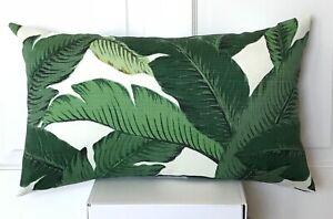 Retro Tommy Bahama Outdoor Tropical Banana Leave-Palm Leaf Lumbar Cushion Cover