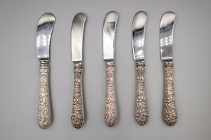 "Alvin Bridal Bouquet Sterling Silver Butter Spreader Knives 6"" Set of 5"