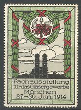 ALLEMAGNE/Munich 1914 de vitrier Trade Fair Poster TIMBRE/Label