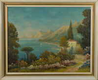 Mid 20th Century Oil - A Sunny Morning By The Lake