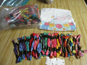 Large Lot Mixed Lot Embroidery Thread 50+,Darice Thread Holder &