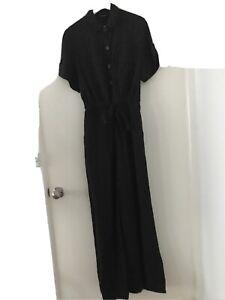 Portmans Black Linen Jumpsuit Size 12 New