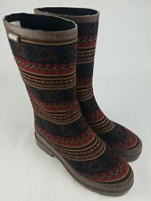 Mukluks Womens Size 7 Tall Rain Boots Knit Geometric Aztec Pattern Fabric