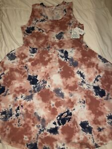 New 2X 22/24 LuLaRoe Nicki Dress Pockets Sleeveless Pink/Blue Tie dye 🦄 2XL 20+
