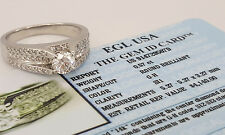 1.02 ct 14k White Gold Round Diamond 3-Row Engagement Ring EGL-USA Rtl $4,140