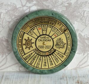 Serpentine Rock & Brass Nautical Style For 40 Years Perpetual Calendar 1988-2007