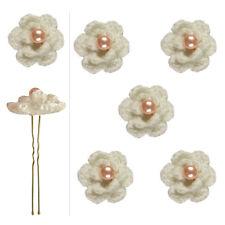 5 épingles pics cheveux chignon mariage fleur crochet écru perle rose saumon