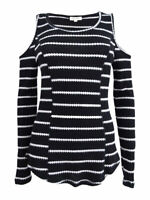 Ultra Flirt Juniors' Cold-Shoulder Thermal Top (M, Black/White)