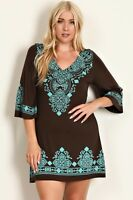 BNWT Evoke Brown & Turquoise Midi Dress Plus Sizes 14/XL CURVED BY NATURE