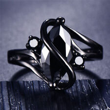 Black Gold Marquise Cut Sapphire CZ Women Wedding S-Shaped Ring Jewelry Size3-12