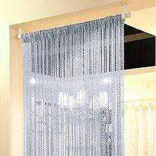 String Door Curtain Crystal Beads Home Room Decoration Silver Divider