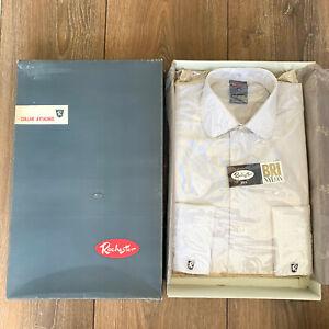 "BNIB Vintage ""ROCHESTER"" White / Brown Pinstripe BRI-NYLON Men's Shirt 14 ½ inch"