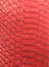 Vinyl Fabric Red Faux Viper Snake Skin Leather Upholstery-3D Scales- the Yard.