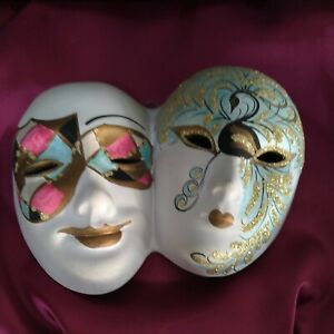 Ceramic Masquerade double Mask wall hanging Italian hand painted 17x13cm