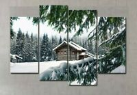 Multi Panel Print Ski Resort Chalet Cabin Canvas Wall Art Mountain Snow 5 Piece