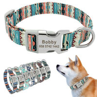 Adjustable Nylon Dog Collar Personalized ID Name Tag Collar for Small Large Dogs