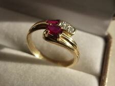 18k 18ct Solid Gold Modern Ruby and Diamond Ring. 0.30ct Size P-Q 4.53g