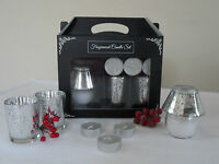 Silver / White Glitter Glass Scented Candle Lamp Tea Light Holder  -  Gift Set