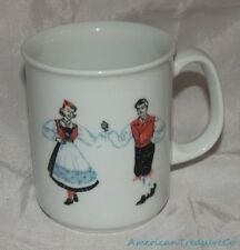Beautiful Vintage FIGGJO NORWAY White HARDANGER FOLK DANCERS Coffee Tea Mug Cup