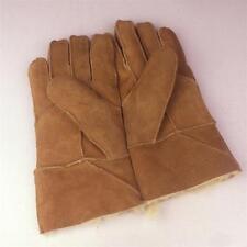 New Men's Winter Genuine Brown Sheepskin Leather Shearling Fur Warm Gloves
