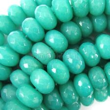 """5x8mm Natural Faceted Aquamarine Jade Abacus Gems Loose Beads 15"""" AAA"""