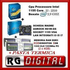 SCHEDA MADRE ASROCK H61M-GS I5+PROCESSORE CPU INTEL I5+MEMORIA RAM 8 GB +OMAGGIO