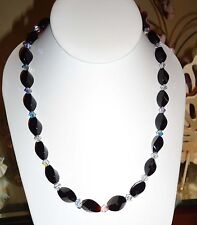 Large Faceted Onyx Necklace made with Swarovski Crystals  .925 Sterling Silver