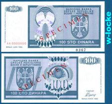 Bosnia/Bosnia 100 Dinara 1992 SPECIMEN UNC p.135 S