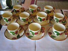 -Magnicent Set of 10  FRANCISCAN Cups and Saucers-Apple Pattern