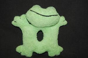"""Frog Baby Teether Ring Rattle Green Terry Clothe Plush 4"""" Toy Lovey"""
