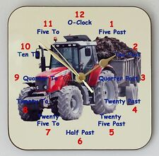 Childrens Teaching Wall Clock Tractor Learn to tell the Time Size 19cm by 19cm
