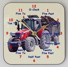 Childrens Square Wall Clock, Tractor, Learn to tell the Time - Size 19cm by 19cm
