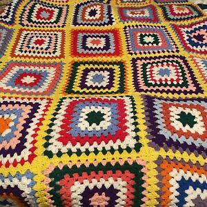 "Vintage Afghan Crochet/Knit Blanket Granny Square Handmade 94"" X 70"" Multicolor"