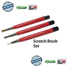 3pc Mini SCRATCH BRUSH SET Fibre Brass Steel Fine Detail Cleaning retratable